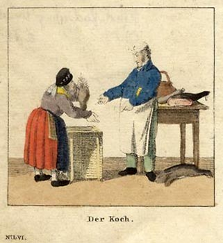 alte Radierung: Händlerin bringt dem Koch Geflügel im Korb