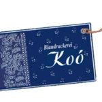 Farbfoto: Stoffanhänger der Blaudruckerei Koó