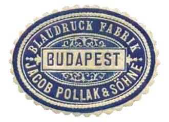Farbfoto: alte ovale Siegelmarke der Budapester Blaudruck-Fabrik Pollak