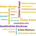 Grafik mit den Namen verschiedener Färberpflanzen