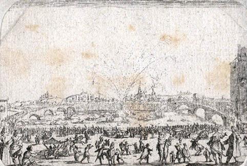 sehr alte Zeichnung: Fluss, Brücken, im Hintergrund ein Feuerwerk