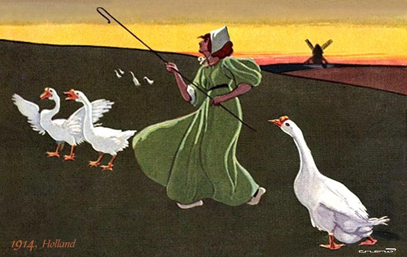 Gemälde: Holländische Gänsemagd mit Häubchen und Holzschuhen in langen grünen Kleid auf weiter grünen Wiese bei Sonnenuntergang und am Horizont eine
