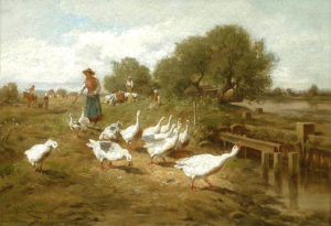 Gemälde: Gänsemagd treibt Gänseschar am Bach entlang