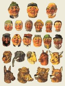 Maskenmacher, Masken, Aufsetzköpfe