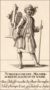 Holzstich: schweizer Scheren- und Messerschleifer mit Wanderstab und kleiner tragbaren Schleifvorrichtung auf dem Rücken