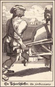 Stahlstich: Scherenschleifer schiebt sein Schleifgerät wie eine Schubkarre vor sich her