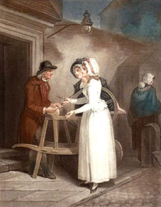 Farblitho: zwei feine Damen bringen ihre Scheren zum Scherenschleifer
