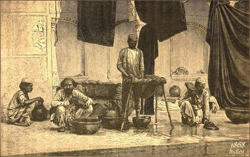 Stich: vier indische Schwarzfärber bei der Arbeit