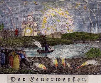farbige alte Zeichnung: Feuerwerk hinter dem Fluss