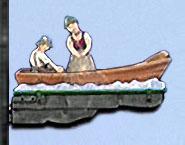 Holzschnitzerei: Wegweiser zur Fähre