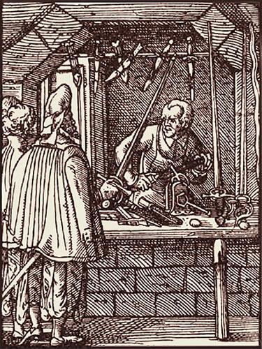 Holzschnitt: vornehmes Paar schaut von außen durch's offene Fenster arbeitendem Messerschmied zu