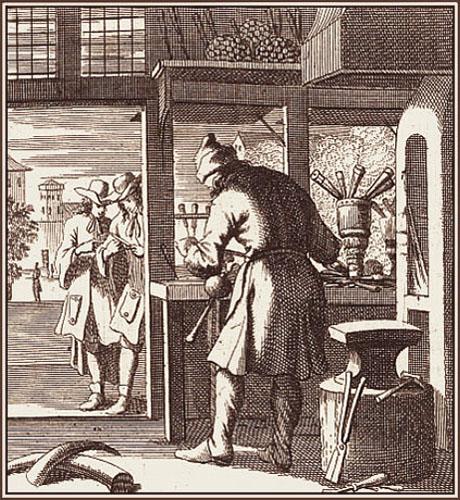 Kupferstich: Messerschmied arbeitet vor offenem Werkstattfenster