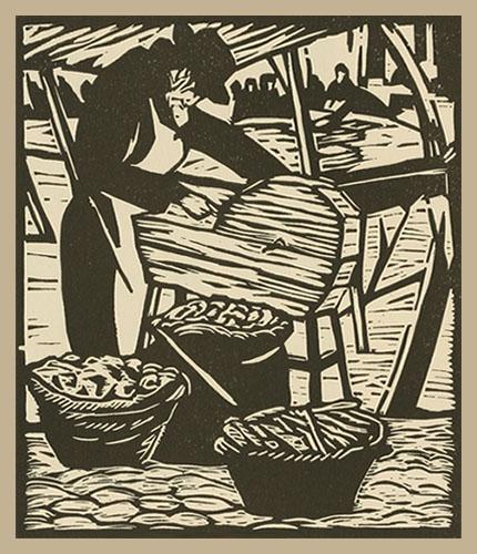 stilisierter Holzschnitt zeigt arbeitenden Scherenschleifer
