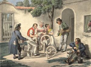 Gemälde: Schleifer mit seiner Karre, umringt von mehreren Leuten mit Scheren in der Hand und anderen Handwerkern, wie Kesselflicker, auf einem ländlichen Hof