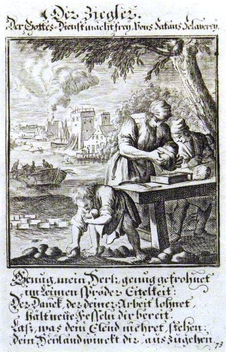 Ziegeleiarbeiter mit Sinnspruch