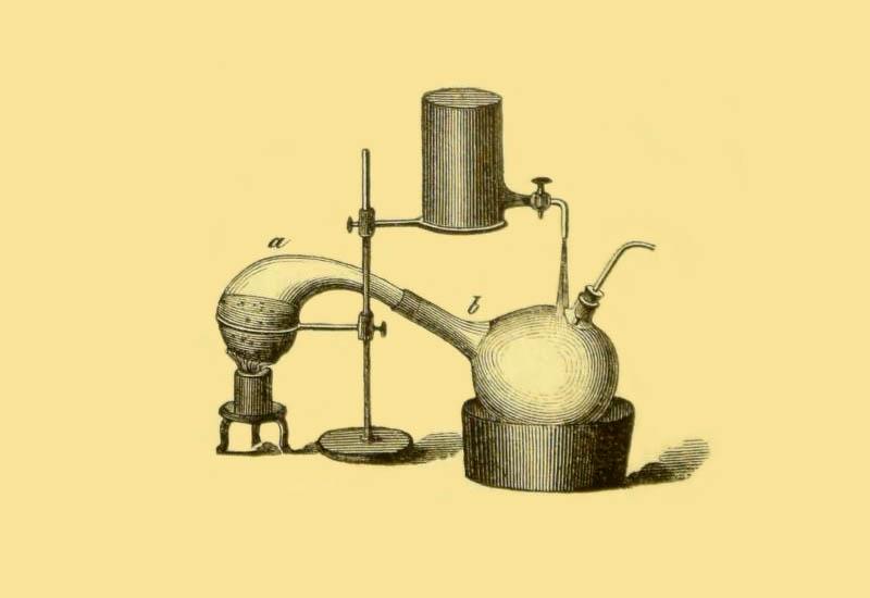 Zeichnung: alte Laborgeräte