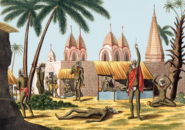 kolorierter Kupferstich: mehrere Inder in diversen Positionen und Schmerz erzeugenden Gerätschaften - 1800
