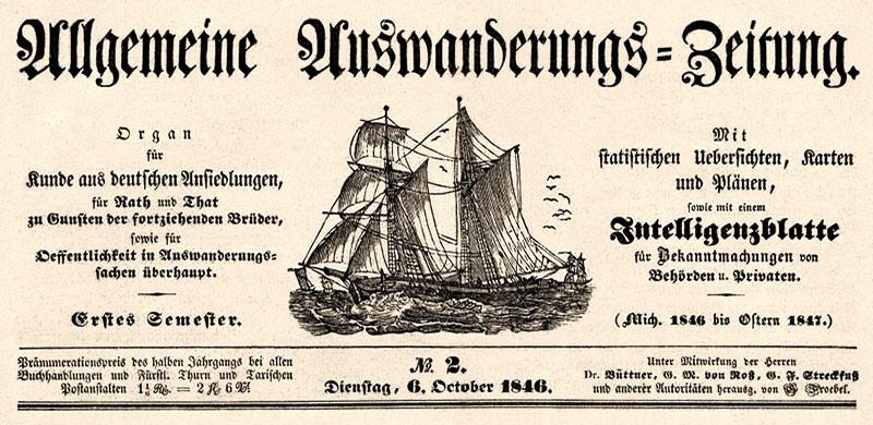 sw Abb.: Zeitunskopf von 1846 der AAZ - Organ für Kunde aus deutschen Ansiedelungen für Rath und That zu Gunsten der fortziehenden Brüder