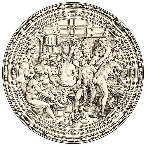 Kupferstich (rund): Frauen und Kinder beim Haarewaschen, Fußbad
