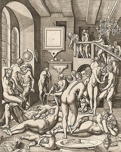 Kupferstich: viele Männer, Frauen und Kinder vergnügen sich im Badehaus