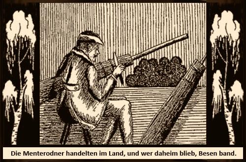 Holzschnitt: Thüringer Besenbiner arbeitet zwischen zwei Birken - darunter Spruch: Die Menteroner handelten im Land, und wer daheim blieb, Besen band.