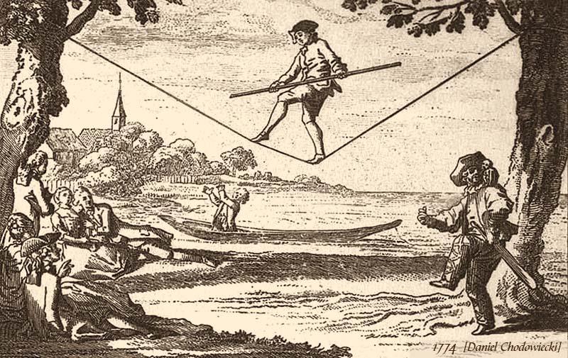 Kupferstich: Mann mit Balancierstange auf einem Seil zwischen zwei Bäumen