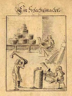 alte einfache Zeichnung: Arbeiter stellen Schachteln her