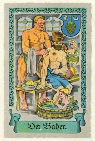 Sammelbild Mann massiert einen anderen. Junge badet im Bottich.
