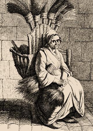 Kupferstich: alte Frau mit Besen im Rückentagekorb ruht sich auf einem Stuhl aus