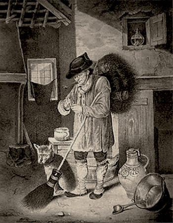 Kupferstich: Mann mit Besenbündel auf dem Rücken