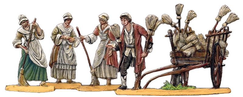 Reliefbild: Besenverkäufer mit Karre voller Besen bietet seine Ware drei Frauen an , die deren Qualität testen - 1740