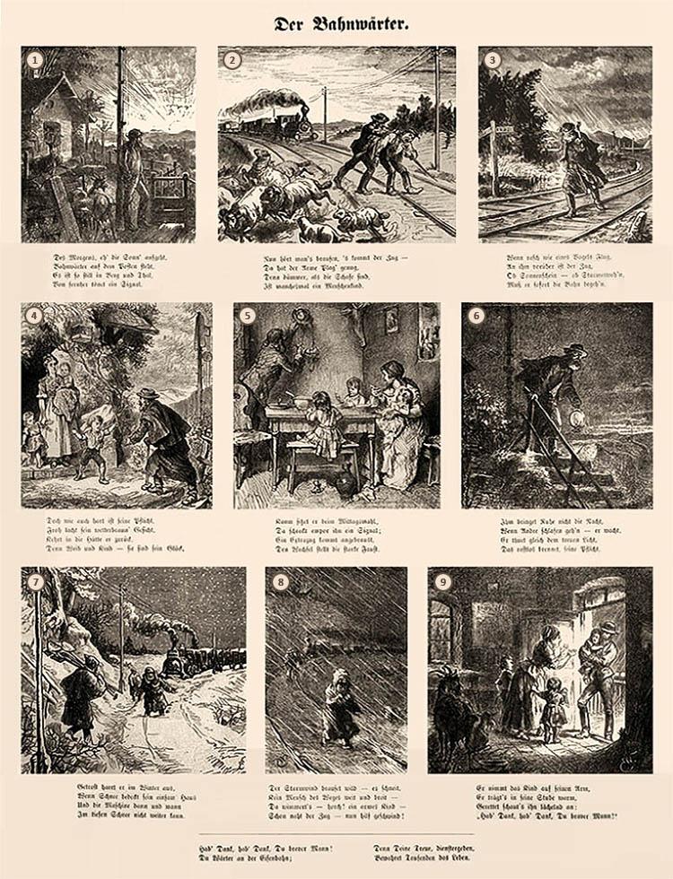 sw Druck: 9 Bilder [Münchner Bilderbogen] mit Versen -1880