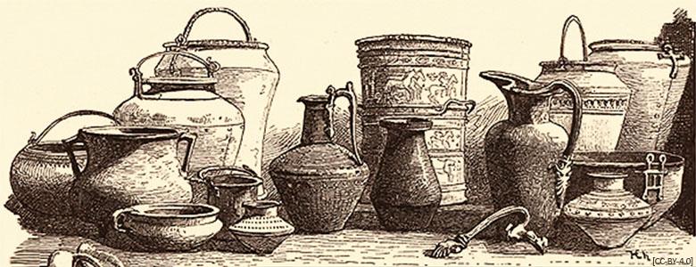 Kupferstich: diverse verschieden geformte Bronzegefäße - 1883