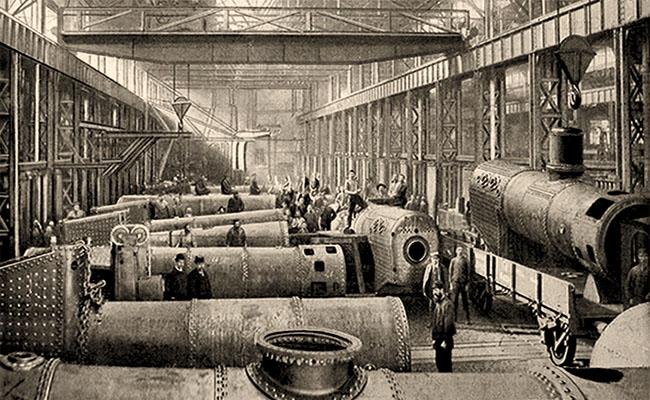 sw Foto: viele Beschäftigte an großen Kesseln
