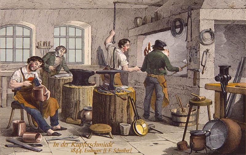 Farblitho: vier Kupferschmiede bei verschiedenen Arbeiten