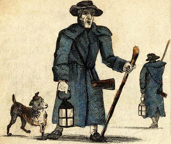 alte Abbildung: 2 Nachtwächter mit Laterne, Rassel und Stock werden von einem Hund begleitet