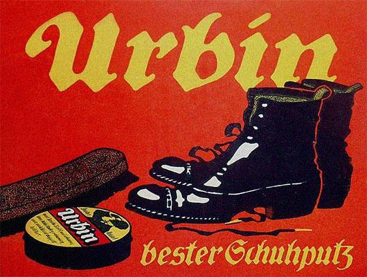 Werbeplakat: Schuhe, Schuhwichse und Polierbürste