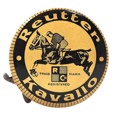 runde Blechdose mit Reitermotiv