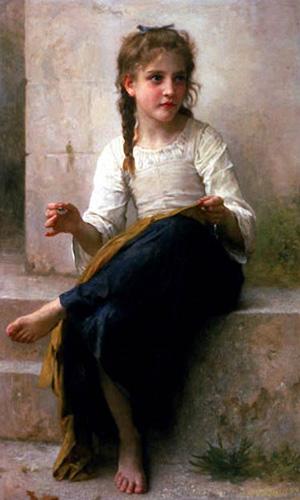 Gemälde: Mädchen auf Steintreppe sitzend und nähend