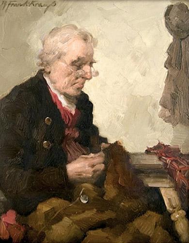 Gemälde: Mann flickt ein Kleidungsstück mit Nadel und Faden