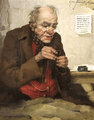 Gemälde: alter Mann beim Einfädeln eines Fadens