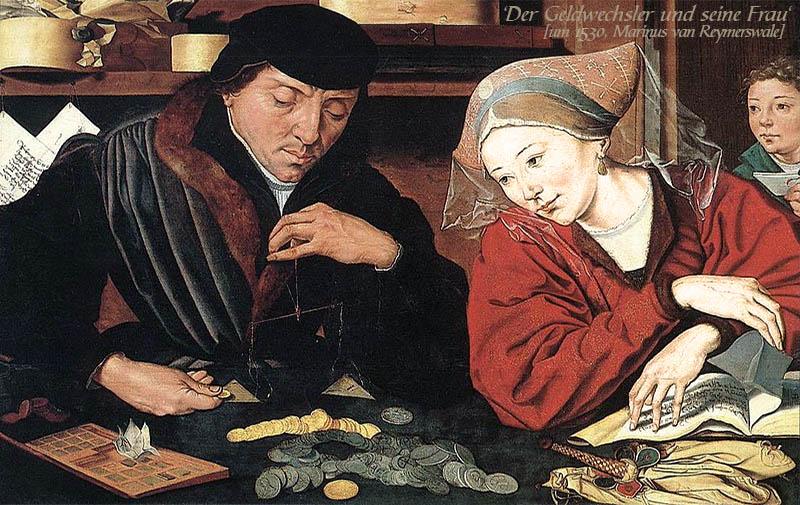 Gemälde: Geldwechslerpaar am Wechseltisch