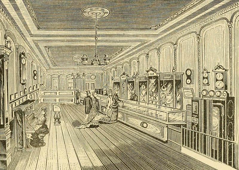 Zeichnung: Juwelierladen mit Uhren und Schmuck und Klavierspielerin