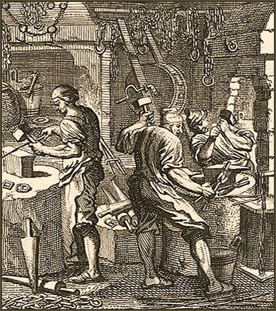 Kupferstich: drei Kettenschmiede hämmern
