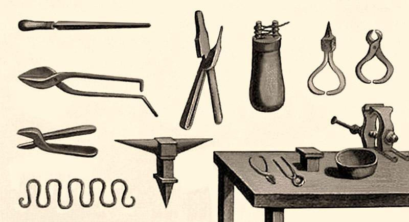 Zeichnung: Zangen, Feilen, Schraubstock