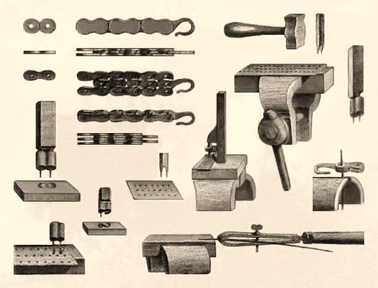 Zeichung: Werkzeuge und Herstellung von Uhrenketten