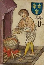 alte Illustration: Koch rührt im Topf am offenen Feuer