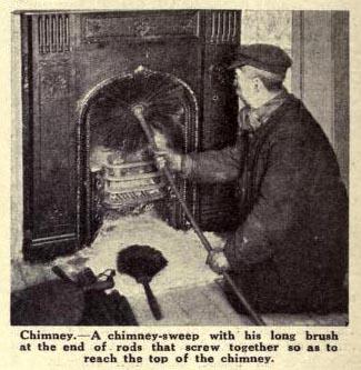 altes Zeitungsfoto: Schornsteinfeger reinigt Ofen und Abzug