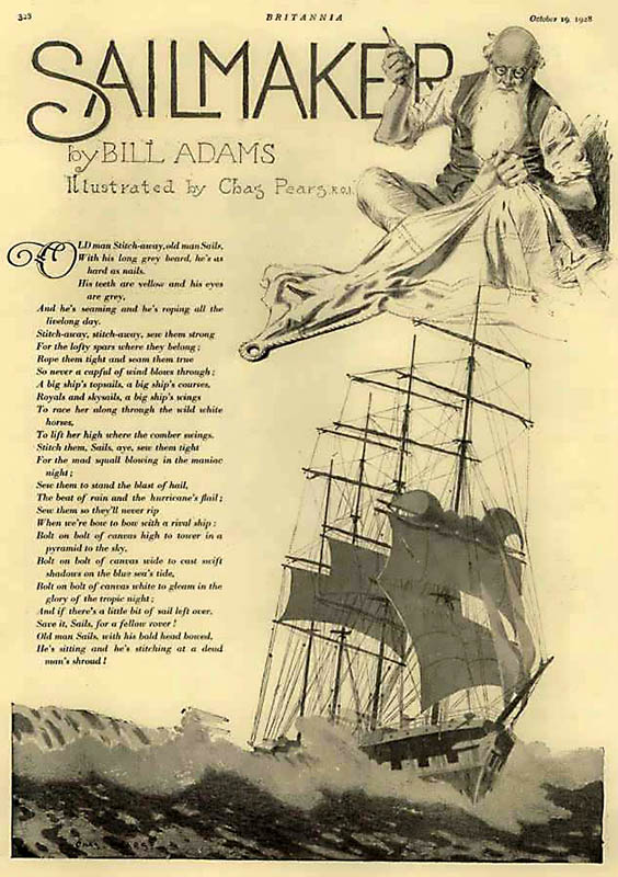 Gedicht mit Illustration eines Schiffes und eines Segelmachers