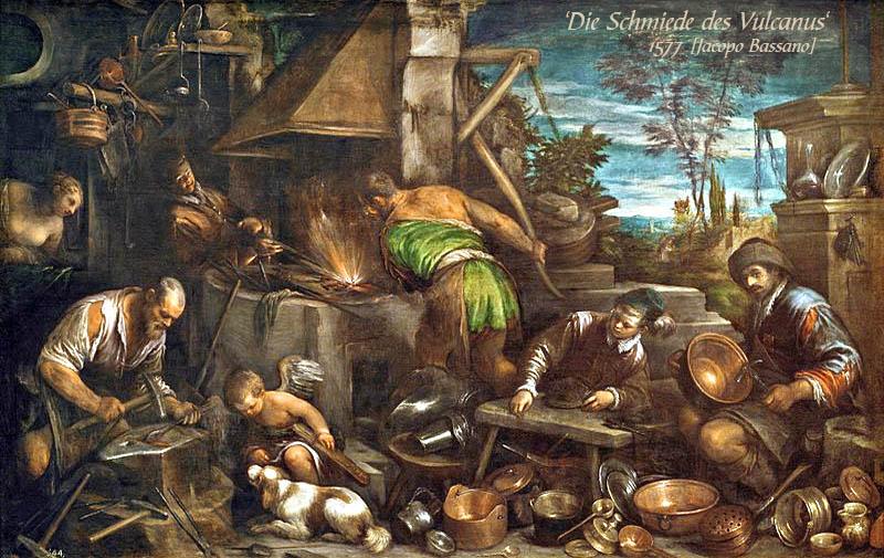 Gemälde: reges Treiben in der Schmiede des Vulcanus, viele fertige Produkt am Boden